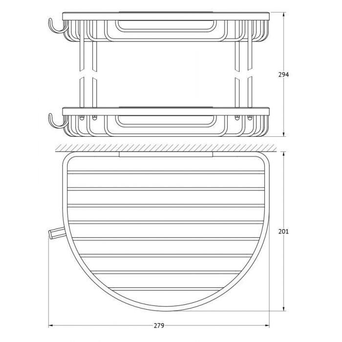 Полочка-решетка с крючками 2-х ярусная 26/26 cm (хром) (FBS) RYN 011 для ванной
