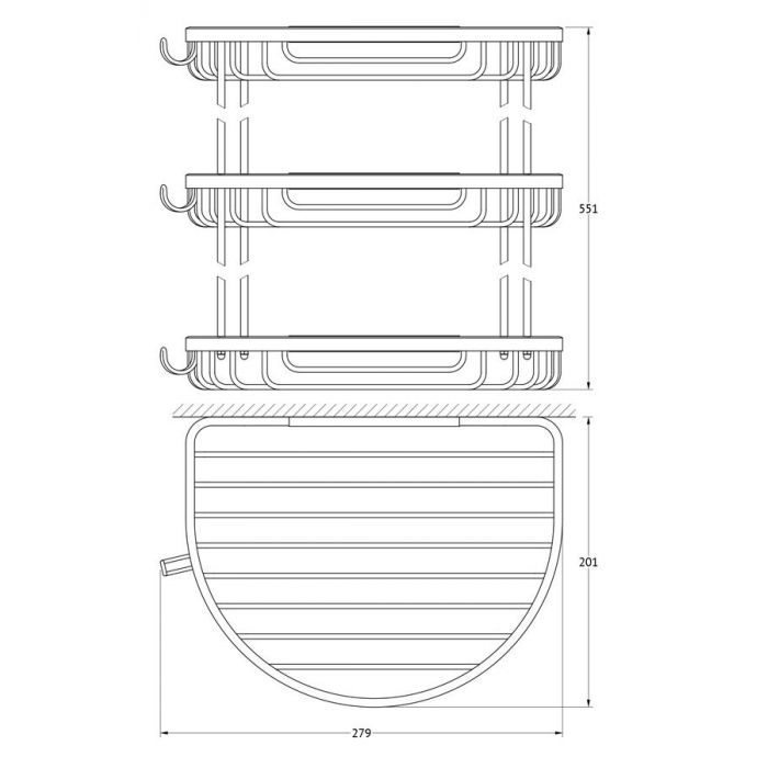 Полочка-решетка с крючками 3-х ярусная 26/26/26 cm (хром) (FBS) RYN 012 для ванной