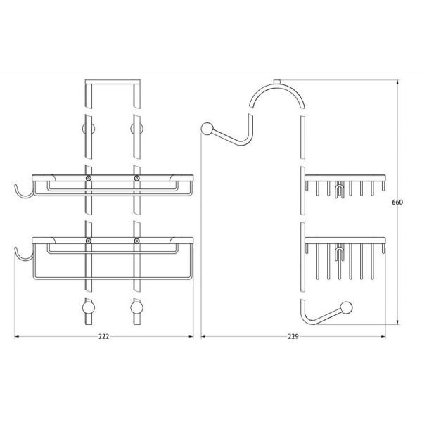 Полочка-решетка с крючками 2-х ярусная навесная 20/20 cm (хром) (FBS) RYN 028 для ванной