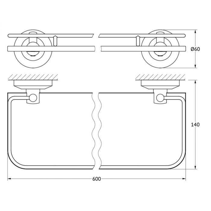 Полка с держателями 60 cm (матовое стекло; хром) (FBS) STA 016 для ванной