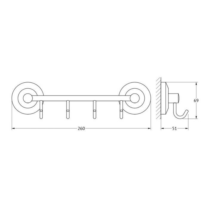 Штанга с 4-мя крючками 25 cm (хром) (FBS) STA 025 для ванной