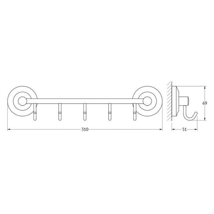 Штанга с 5-ю крючками 30 cm (хром) (FBS) STA 026 для ванной