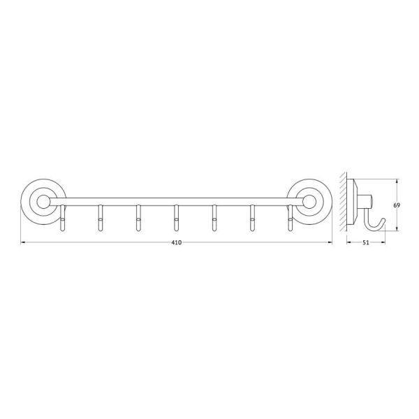 Штанга с 7-ю крючками 40 cm (хром) (FBS) STA 028 для ванной