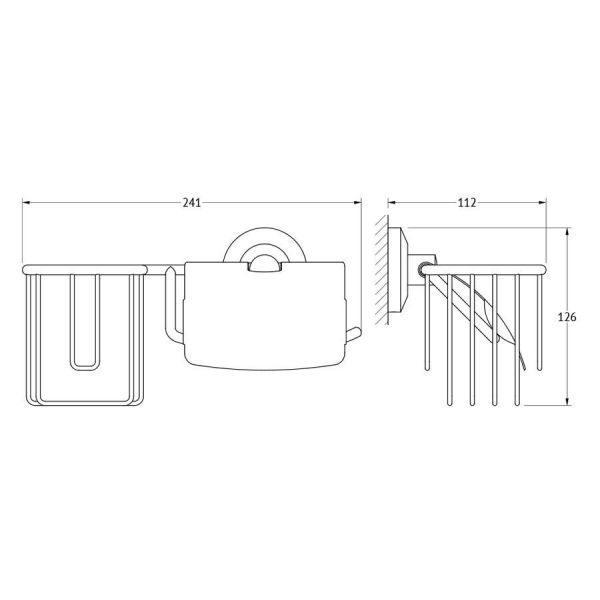 Держатель освежителя воздуха и туалетной бумаги с крышкой (хром) (FBS) STA 054 для ванной