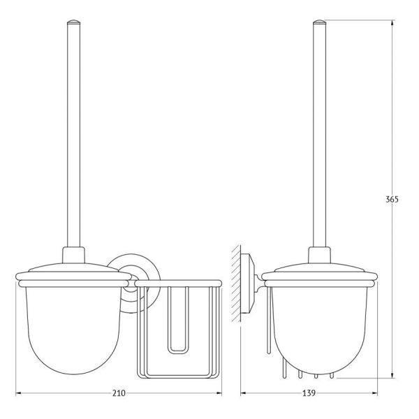 Держатель освежителя воздуха с туалетным ершом с крышкой  (матовый хрусталь; хром) (FBS) STA 059 для ванной