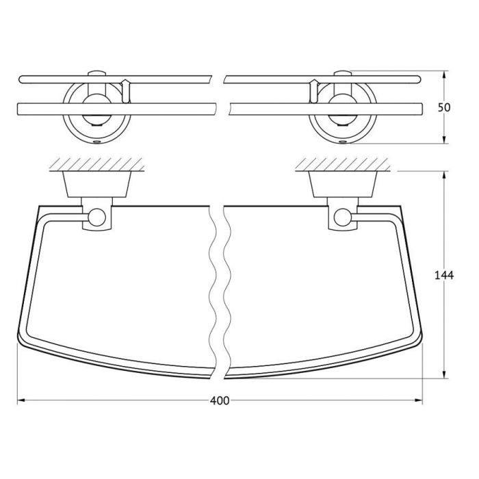 Полка с держателями 40 cm (матовое стекло; хром) (FBS) VIZ 014 для ванной