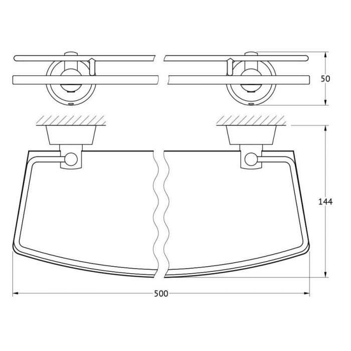 Полка с держателями 50 cm (матовое стекло; хром) (FBS) VIZ 015 для ванной