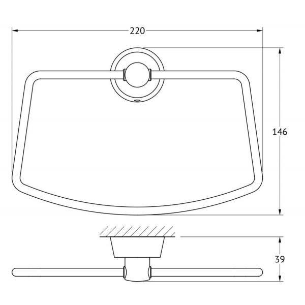 Держатель полотенца трапециевидный (хром) (FBS) VIZ 022 для ванной