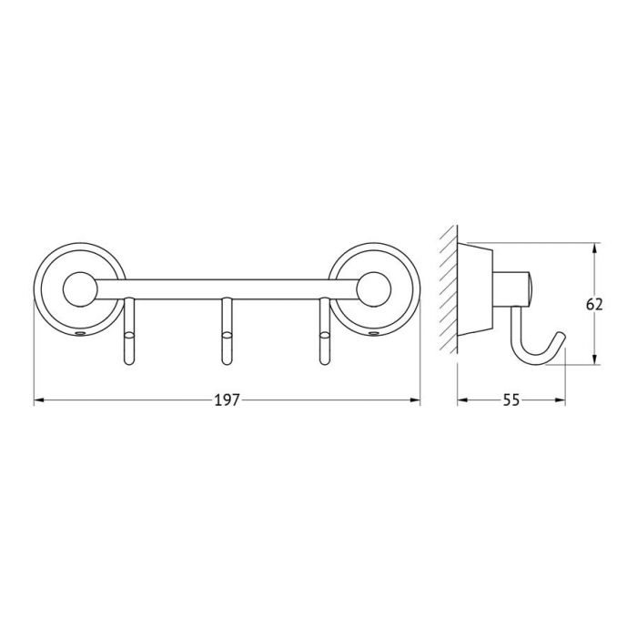 Штанга с 3-мя крючками 20 cm (хром) (FBS) VIZ 024 для ванной