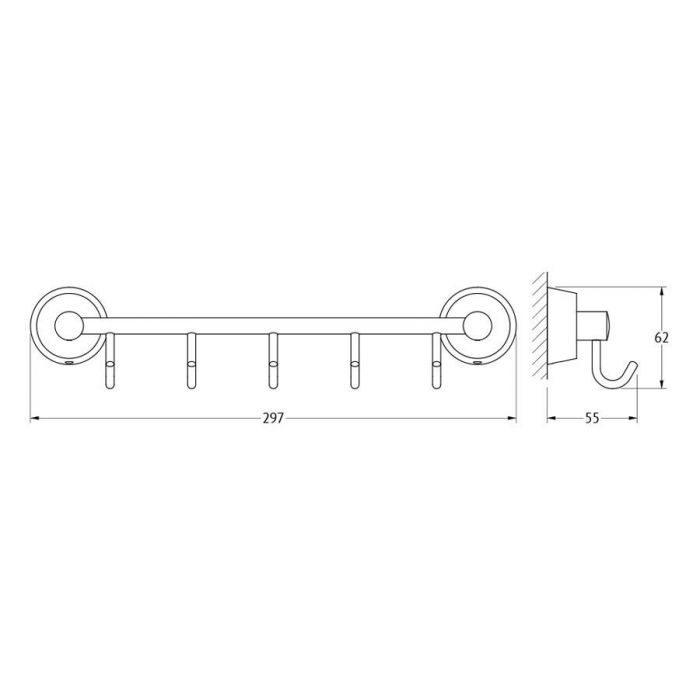 Штанга с 5-ю крючками 30 cm (хром) (FBS) VIZ 026 для ванной