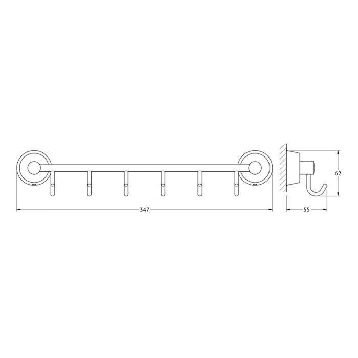 Штанга с 6-ю крючками 35 cm (хром) (FBS) VIZ 027 для ванной