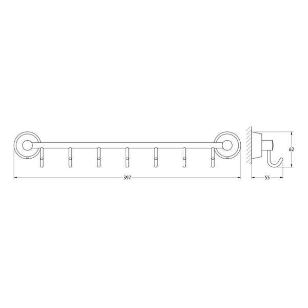 Штанга с 7-ю крючками 40 cm (хром) (FBS) VIZ 028 для ванной