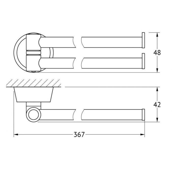 Держатель полотенец поворотный двойной 37 cm (хром) (FBS) VIZ 044 для ванной