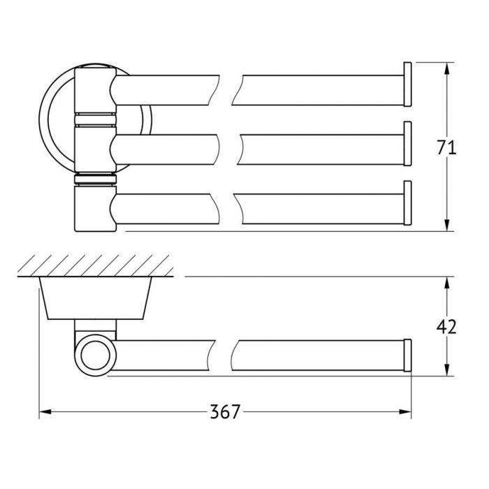 Держатель полотенец поворотный тройной 37 cm (хром) (FBS) VIZ 045 для ванной