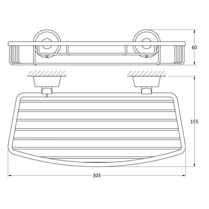 Полочка-решетка 30 cm (хром) (FBS) VIZ 049 для ванной