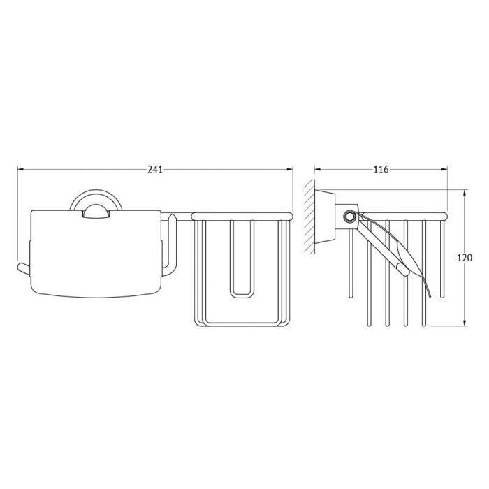 Держатель освежителя воздуха и туалетной бумаги с крышкой (хром) (FBS) VIZ 053 для ванной