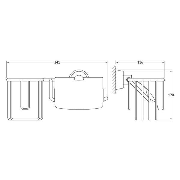 Держатель освежителя воздуха и туалетной бумаги с крышкой (хром) (FBS) VIZ 054 для ванной