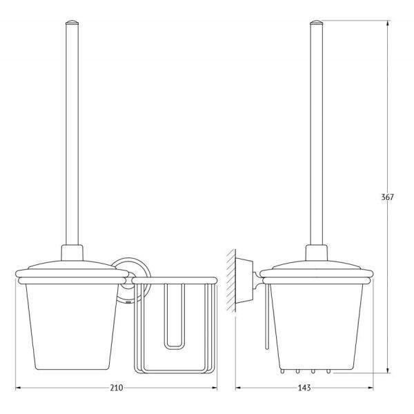 Держатель освежителя воздуха с туалетным ершом с крышкой  (матовый хрусталь; хром) (FBS) VIZ 059 для ванной