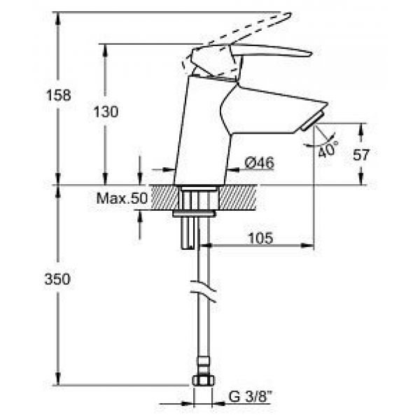 Смеситель для раковины VitrA Dynamic S A40950EXP