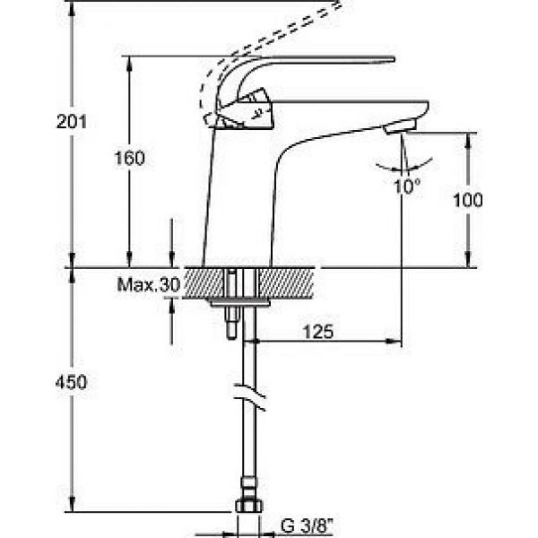 Смеситель VitrA Style-X A40170EXP  для раковины