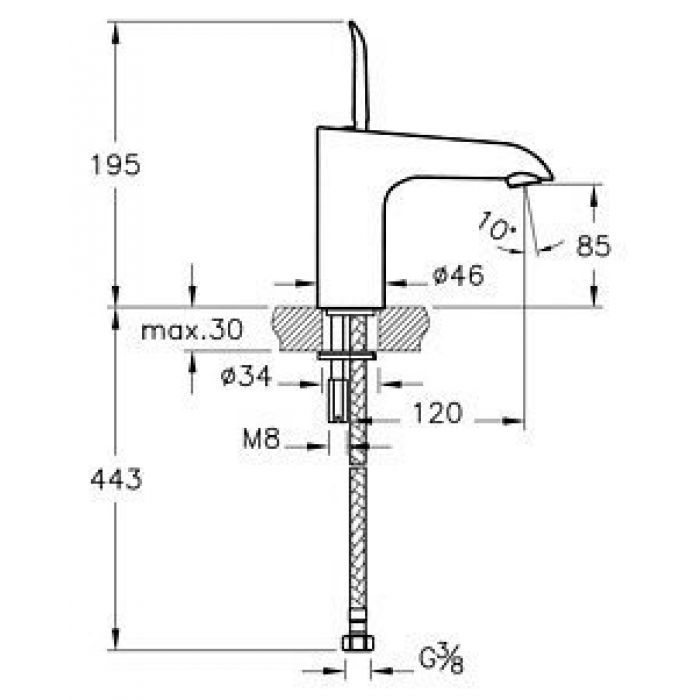 Смеситель VitrA T4 A41236EXP для раковины