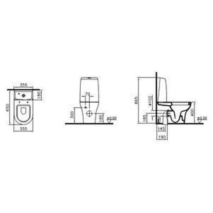 Унитаз-компакт Унитаз-моноблок VitrA Zentrum 9012B003-7200 с микролифтом