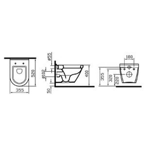 Короткий Унитаз Vitra S50 5318B003-0075 52 см