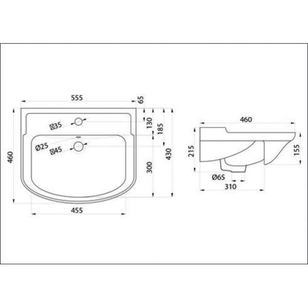 Тумба для ванной с раковиной Классик 55 (цвет белый)