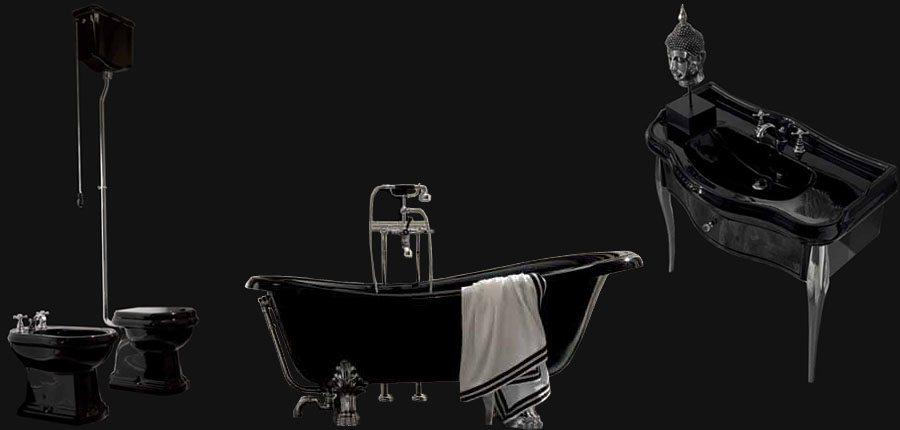 сантехника в черном цвете, черные унитазы, черные раковины